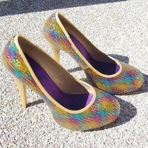 Rainbow Sequin Gold-Trim Heels